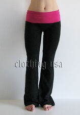 Women Black Yoga Fitness Gym Long Pants With Pink Color Fold Over Waist  S,M,L