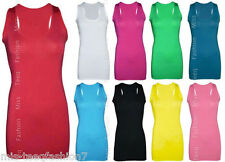 New Ladies Long Sleeveless Bodycon Racer Back Muscle Vest Womens Maxi Top 8-14