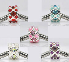 2 x Silver Plated with Rhinestone & Acrylic Beads for European Charm Bracelets