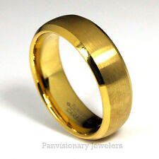 8mm 18K Gold IP Tungsten Ring Wedding Band Brushed Dome w Polished Bevel Edges