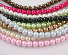 8mm Glass Pearl Beads - 1 Strand approx 110 Beads - Choose Colour