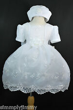 Baby Girl & Toddler Baptism Wedding Party Formal White Dress w/ hat (0-36 Month)