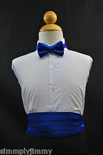 Toddler & Boy ROYAL BLUE Cummerbund Cumberband + Bow tie Set SZ:S-28 Tuxedo Suit