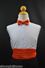 Infant to Boys ORANGE Cummerbund / Cumberband + Bow tie Set Tuxedo Suit Sz:S-28
