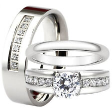 His and Hers Stainless Steel Engagement Ring Wedding Band Bridal Set Mens Womens