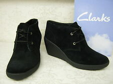 Ladies Clarks Nice Melody Black Suede Leather Lace Up Wedge Ankle Boots