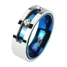 Blue Spin Cubic Zirconia Titanium Women Wedding Band 6mm Clear Solitaire