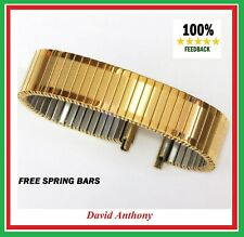 16- 21mm XL GOLD PLATED STAINLESS STEEL FIXO FLEX STYLE EXPANDING WATCH BRACELET