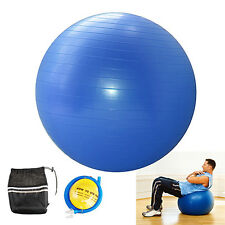 "Fitness Exercise Yoga Ball 25"" Anti-Burst w/ Pump and Bag Stability Red or Blue"