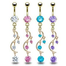 GOLD PLATED ROUND GEM VINE DANGLE BELLY NAVEL RING BUTTON PIERCING JEWELRY B165