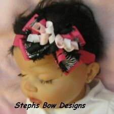 ZEBRA SHOCK PINK BLACK WHITE Dainty Layered Korker Hair Bow Infant Toddler CUTE