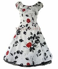 HEARTS & ROSES H&R 50's RED ROSE FLORAL rockabilly DRESS WHITE