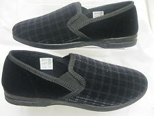 MEN'S SLIPPERS BLACK TEXTILE UPPERS X2010
