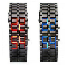 Lava Iron Samurai LED Digital Faceless Metal Bracelet Unisex Wrist Watch Gifts