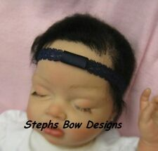 "NAVY BLUE 1/2"" DAINTY LACE INTERCHANGEABLE HEADBAND INFANT BABY NEWBORN TODDLER"