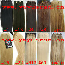 "100g 100% Remy Human Hair Extension Straight Hair Weft 24"" black brown blonde"