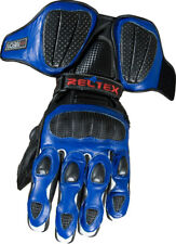 BLUE BLACK Race Pro VENTED CE Armoured Leather Motorcycle Motorbike Biker Gloves