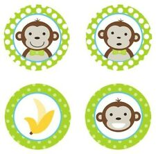 Mod Monkey Boy {Lime Green} Edible Cupcake Toppers Decoration