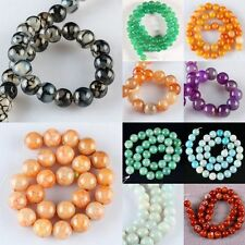 1 Strand Dragon Veins Agate Gemstone GEM Round Ball Loose Beads Jewelry Findings