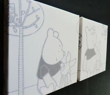 2 X DEEP EDGE CANVAS PICTURES with WINNIE THE POOH STARRY NIGHT free p&p new