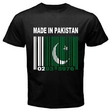 MADE IN PAKISTAN Urdu Pakistani Barcode Country Flag CUSTOM Black T-shirt  Y14