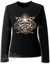 ROCKABILLY,TATTOO,BIKER,TRIBAL SKULL,LADIES LONG SLEEVE T SHIRTS-XXL