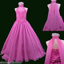 Girl National Glitz Pageant Bridal Formal Long Dress fuchsia pink 7 8 10 12 14