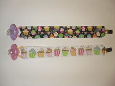 Cupcake Theme Pacifier Clip & Pacifier (Black or White)
