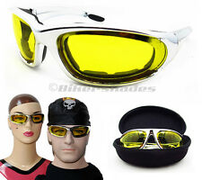 Motorcycle Transition Sunglasses with photochromic lens Chrome frames day night