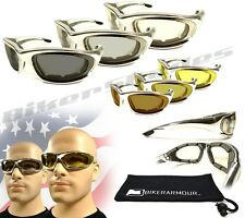 Chrome Frame Foam Padded Motorcycle YELLOW Transition Glasses  Lenses Day Night