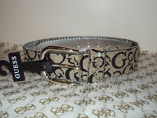 GUESS LADIES BELT IN Black/beige/silver studs AUTHETIC GENUINE NEW