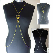 A Large CND, Peace Sign Charm Body, Belly, Harness Slave Metal Chain Necklace.