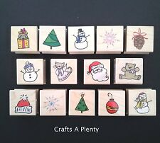 Christmas (Hero Arts) - Wooden Backed Rubber Stamps Tree Snowman Snowflake Etc