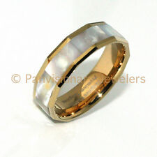 6mm Gold IP Octagon with Mother of Pearl Inlay Tungsten Carbide Wedding Ring