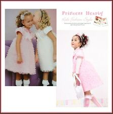 Top Quality BOUTIQE Fancy Princess Hearty Pink Ruffle Trim Party Pageant Dress