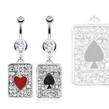 FANCY GEM PAVED ACES POKER CARD NAVEL BELLY RING BUTTON PIERCING JEWELRY B615
