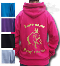 PERSONALISED HORSE HOODIE, PONY Equestrian GIFT Children's & Adult's HORSE HEAD