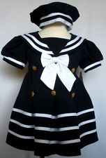 D1 New Baby Girl Sailor Nautical Dress Holiday Party size New born - 4T Navy