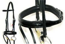 FSS German PATENT GLOSS Delicate Fine Comfort Padded Cavesson Flash Bridle NEW