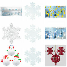 CHRISTMAS PARTY HANGING CEILING SNOWFLAKE XMAS DECORATIONS KIDS ADULTS