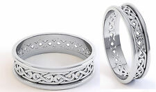 Pair Irish Handcrafted .925 Sterling Silver Irish Celtic Knot Wedding Ring Set