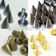 LOT 10/13mm Gold/Silver Cone Screw Metal Studs Leathercraft Rivet Bullet Spikes