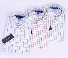 NEW TOMMY HILFIGER MEN LONG SLEEVE BUTTON DOWN PLAID CASUAL SHIRT - $0 SHIPPING