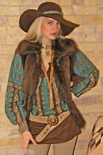 TASHA POLIZZI LUXE VEST FAUX SUEDE SHEARLING COYOTE FUR BROWN BEAR S M L XL  NEW