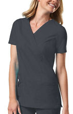 SCRUB Pewter Cherokee Workwear Mock Wrap Top 4728 PWTW