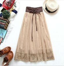 L100 Lady brown nude Gauze Skirt Tiered Four Layers High Waist lace up Lace trim