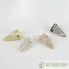 10Pcs Rhinestones Pave Hip Hop Solid Metal Spike Bracelet Connector Charm Beads