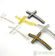 10Pcs Long Side Ways Crystal Rhinestones Cross Bracelet Connector Charm Beads