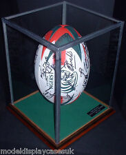 SIGNED FULL SIZE UPRIGHT RUGBY BALL + HOLDER - GLASS DISPLAY CASE ONLY