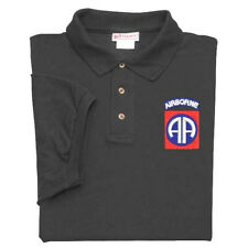 82ND AIRBORNE DIVISION CREST EMBROIDERED BLACK POLO SHIRT   ( NEW ITEM)